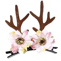 JasmineLi Beautiful Silk Flower Antler Hair Clips Christmas Party Cosplay Headband Decoration