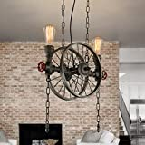 Modeen Industrielle Vintage Pendelleuchte Metall Wasserpfeife Lampe rustikale Steampunk Retro Decke 4 Lichter E27 Sockel Edison Lampe Kronleuchter, Eisen Rost Finish (Size : Double head)