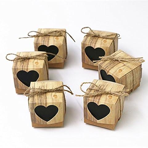 Fvstar Lot de 50boîtes à bonbons Papier kraft Bonbonnière pour fête d'anniversaire, de mariage, de baby shower Décoration vintage
