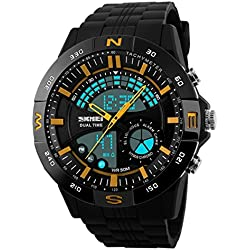 SKMEI Men's SK1110E Outdoor Sports Decorated Compass Dual Time Digital Watch Black Circle Gold