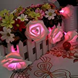 E-Plaza LED Fairy String Lights Battery Operated 20 LED Rose Flowers on 2M Transparent Cable 2 Working Modes for Bedroom Vase Party Garden Christmas Birthday (Pink)
