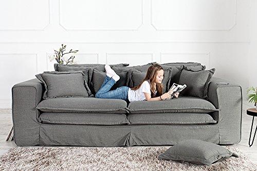 XXXL Hussensofa CLOUD grau Leinen Stoff Hussen 230cm Sofa Wohnlandschaft Couch Wohnzimmer - 4