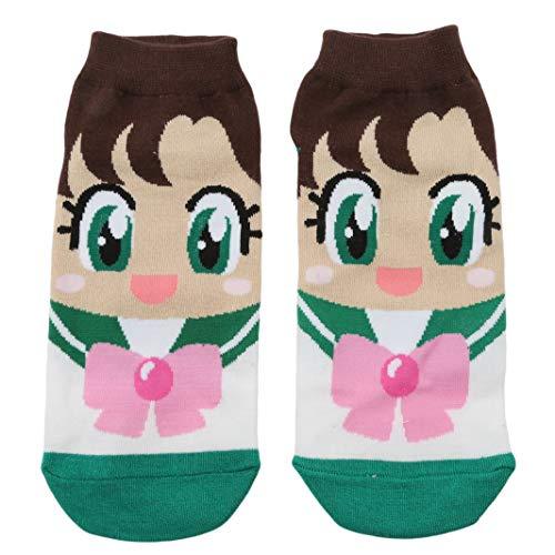 Sperrins Cute Cartoon Neuheit Socken Sailor Moon Dekoration Söckchen Damen Geschenkideen für Frauen, grün