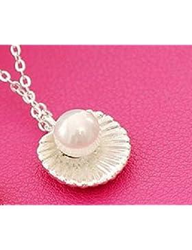 Halskette Muschel mit Perle Silber