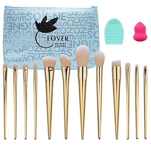 Amant Barre 12 pcs Pinceaux de maquillage professionnels Set-luxury visage Poudre Contour Brush-beauty Cosmétique outils extrêmement doux Fond de teint Kabuki Brush-makeup Pro Correcteur Kits de brosse avec étui de voyage