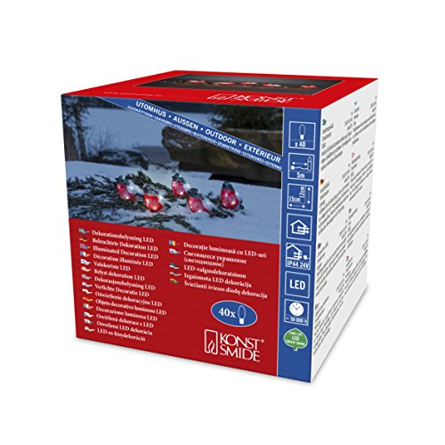 Konstsmide, 6269-203, LED Acryl Rotkehlchen, 5er-Set, 40 kalt weiße Dioden, 24V_Außentrafo, weißes Kabel