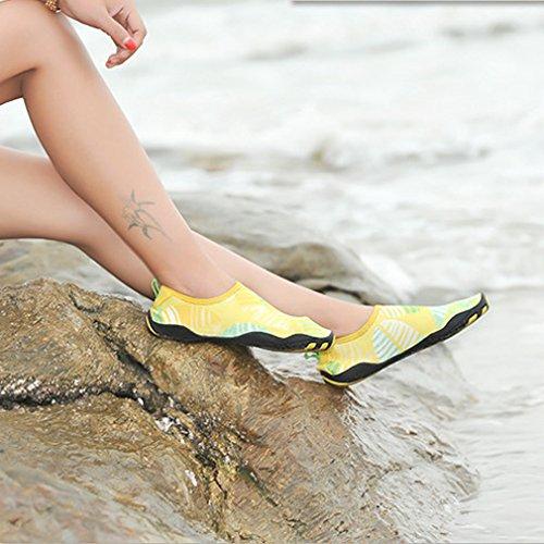 Kinder Mädchen Jungen Strand Surf Aqua Schuhe Schwimm Barfuß Wasser Badeschuhe Damen Herren Gelb