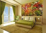 Startonight Fototapete Kunstdruck Rote Blätter, Wandbild Großformatige Modern Muster Dekorative Kunst Wand 256 x 366 CM