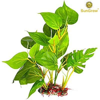 SunGrow Plastic Leaf Plant for Freshwater or Saltwater Aquariums : Ultra Realistic Medium-sized (10 inches) - Excellent Hiding spot for Fish, Reptiles and Amphibians : Safe for Aquariums use
