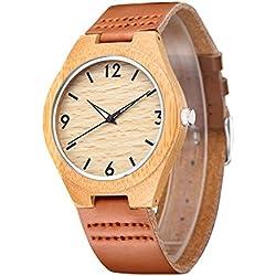 Affute | Men's Wooden Bamboo Watch | Genuine Leather Strap | Luminous Pointer Quartz Analogue | Quality Japan Miyota 2015 Movement
