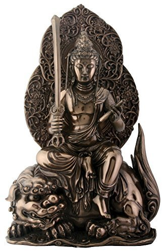 Manjushri-statue (11.25 Inch Bronze Colored Cold Cast Resin Buddhist Manjushri Statue by Summit)