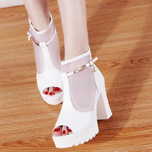 Lgk & fa estate sandali da donna estate pesce bocca con impermeabile all-match spessa con donna sandalo col tacco alto Buckle white