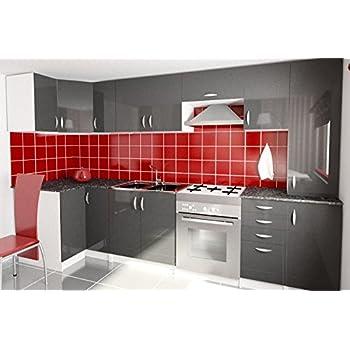 city cuisine d 39 angle complete 2m80 gris laqu haute. Black Bedroom Furniture Sets. Home Design Ideas