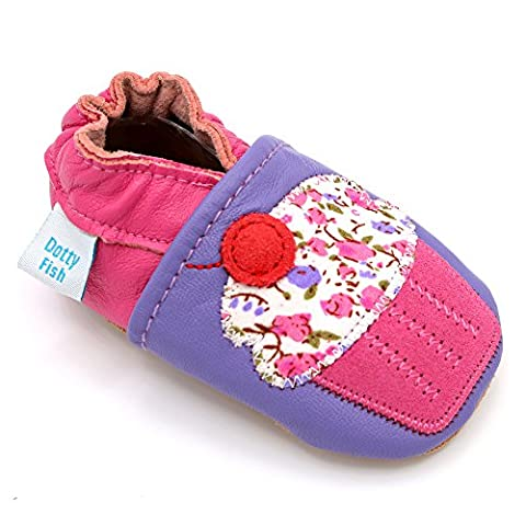 Dotty Fish - Soft Leather Baby & Toddler Shoes - Girls Purple & Pink Cupcake - 6-12 Months
