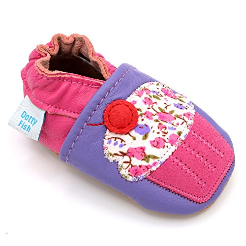 Bild von Dotty Fish Weiche Lederschuhe für Babys und Kleinkinder Rutschfeste Wildledersohle. Lila mit rosa Cupcake. 3-4 Jahre