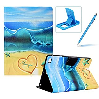 Herzzer Wallet Folio Case for iPad Mini 1/2/3/4,Bookstyle Flip Pu Leather Case for iPad Mini 1/2/3/4, Stylish Pretty Summer Beach Printed Stand Magnetic Smart Leather Case with Soft TPU Inner