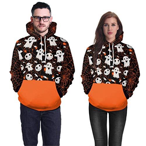 (Halloween MEIbax Paar Pärchen Pullover Hoodies Langarm Kapuzenpulli Sweatshirt Pullover Tops Bluse Drucken Kapuzen Sweatshirt)
