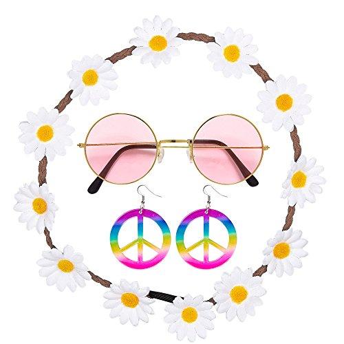 Widmann 95718 - Hippie Set Blumenhaarband, Ohrringe und (Ohrringe Hippie Peace Zeichen)