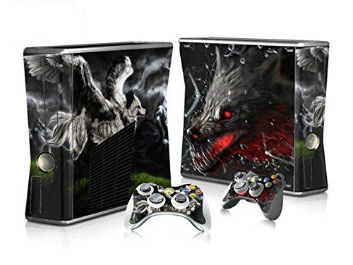 XBOX 360 Slim Skin Design Foils Aufkleber Schutzfolie Set - Wolf Motiv (Skin Für Xbox 360 E)