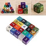 Manyo 20pcs Mehrfarbig 6 Seitige Würfel, leicht und tragbar, perfekt für Brettspiel, Club und Bar Spiel Tool, Familienspiel, Math Teaching.