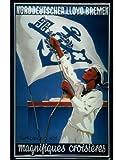 Blechschild Nostalgieschild Norddeutscher Lloyd Bremen Seemann Flagge blau
