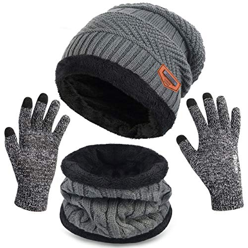 Petrunup Slouch Beanie Guantes Tactil,Gorros y Bufanda para Hombre Mujer Dama, Fleece Lined...