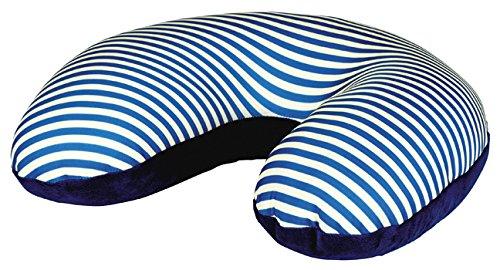 moses. Fernweh Nackenkissen in blau für Reisen | 2-in-1 Nackenhörnchen und Kopfkissen | Kissen mit blau-weiß gestreiftem Motiv