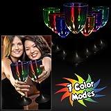 Fun Central P912 LED Light Up Wine Glass Black Stem, 10 oz.