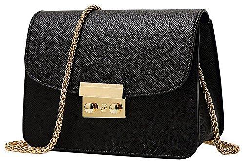 1 x Singolo sacchetto di spalla per le donne – Borsetta PU Impermeabile / Body Bag Croce Moda con la Catena per Partito / Shopping / Viaggiare - Nero
