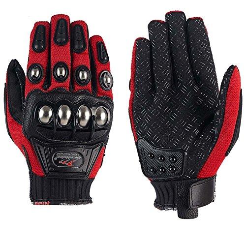 xiujun Stahl Outdoor verstärkte Messing Knöchel Motorrad POWERSPORTS Racing Textil Sicherheit Handschuhe, rot, xxl