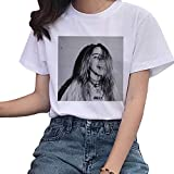 Billie Eilish Tshirt Damen, Teenager Mädchen Bad Guy 3D Druck Shirt Frauen Hip Hop Ocean Eyes Sommer T-Shirts Bellyache Halloween Kurzarm Tshirts Sport Blusen Shirt Oberteile Tops Merch (21,M)