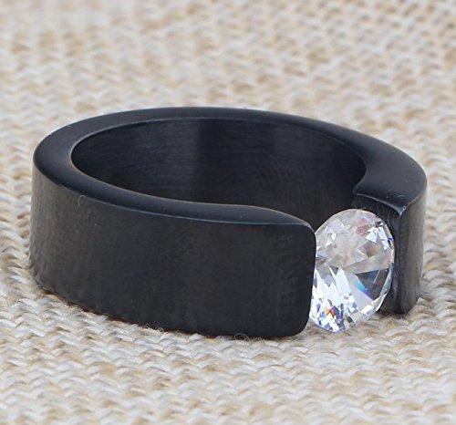 OOFAY Titan Steel Diamond Männer Ring Tri-Color Zirkon Edelstahl Ring,Black,L