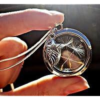 Sterling Silber Kette Engelsflügel Löwenzahn Medaillon Pusteblume Halskette Anhänger -GESCHENKBOX Schwebeanhänger Sympathie und Verlust Schmuck