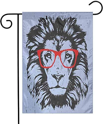 Eastlif Jahreszeit-Garten-Flaggen-Tierschmutz-Löwe-Porträt mit Hippie-Glas-Sonderlings-Spaß-Comic-König Illustration Add Beauty Blue Black Red