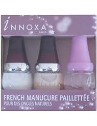 Innoxa - Kit 3 vernis à ongles French Manucure paillettée - Blanc + Champagne + Fixateur - 3 x 5 ml