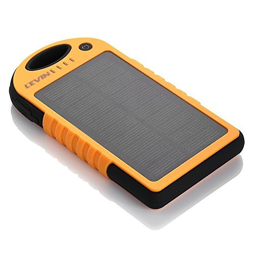 Cargador Solar Móvil 12000mAh,Levin Batería Externa Solar Impermeable Con Doble Puerto USB,Panel Solar PowerBank,Solar Charger Mobile Portátil Compatible con Smartphone (No Incluye Adaptador de Apple)(Naranja)