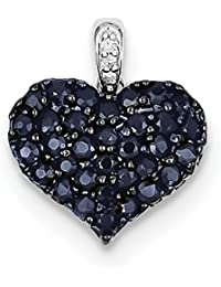 ICE CARATS 925 Sterling Silver Diamond Sapphire Heart Pendant Charm Necklace Gemstone Fine Jewelry Gift Set For Women Heart