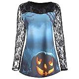 SEWORLD Halloween Schal Frauen Einzigartig Frauen Pumpkin Design T-Shirt Blouse Teufel Drucken Spitze Insert Shirt Top(Blau,EU-42/CN-2XL)