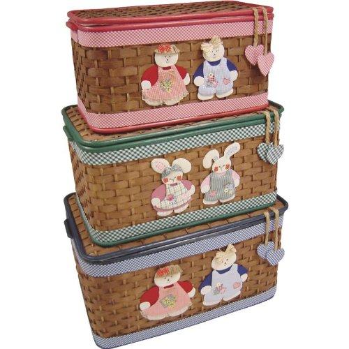 Coffres à jouets en bambou Motifs et coloris assortis