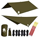 CHILL GORILLA 10' HAMMOCK RAIN FLY TENT TARP Waterproof Camping Shelter. RIPSTOP NYLON & Not Cheap Polyester. Essential Survival Gear. Stakes Included. Lightweight. Quality. Easy to setup. OD GREEN