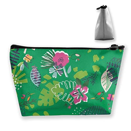 Grüne tropische Pflanze Fauna Palms Womens Travel Cosmetic Bag tragbare Kulturbürste Lagerung