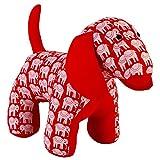 NeedyBee Handmade Soft Stuffed Animal Plush Fabric Dog with Hand Block Print For Baby & Kids