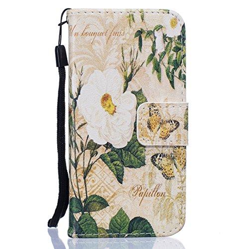 iPhone 6S Plus Ledertasche,iPhone 6 Plus Handyhülle,JAWSEU Leder Wallet Strap Brieftasche Handycover,Cool Weiß Leopard Muster Weich Tpu innere Lanyard Folio Hüllen Schutzhülle Schutz Cases Etui Lederh Weiß Blumen Schmetterling