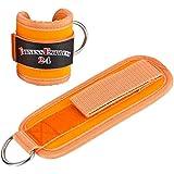 1 Paar Fußschlaufen Orange m. Ringöse und verstellb. Klettverschluss für Kabelzug Übungen