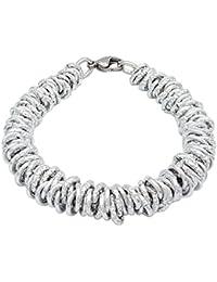 ParticolarModa Bracciale stile dodo lucido diamantato nodini intrecciato per donna in alluminio e acciaio Dorato Argentato Rosè 7 mm