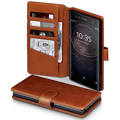 Terrapin, Kompatibel mit Sony Xperia XA2 Ultra Hülle, [ECHT LEDER] Brieftasche Case Tasche mit Standfunktion Kartenfächer und Bargeld - Cognac EINWEG
