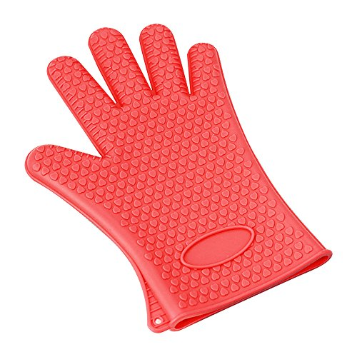 BBQ Barbecue Silicone Glove Thicker High Temperature Insulation Anti-slip Oven, Microwave Oven BBQ Gloves (Red)