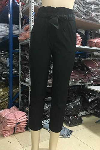 Frauen Elegante Casual Locker Lange Hose Mit Bowknot Black