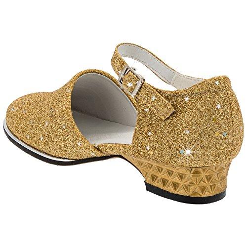 Festliche Mädchen Glitzer Ballerina, viele Farben #637 Gold
