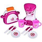 12 PCS Pretend Play Kitchen Electric Cooking Tool Set with Light & Sound for Kids, Including Mixer Appliance and Pop UP Bread Toaster with Cups, Forks, Cutters & Dishes, Educating Children to Learning Baking Basic